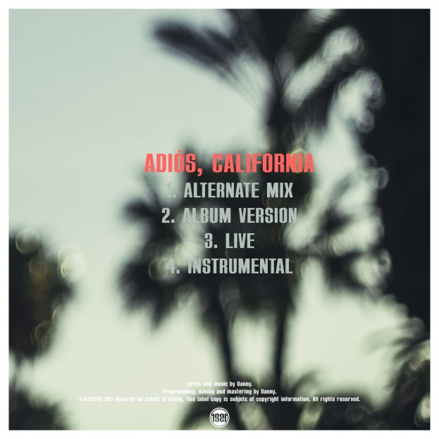 "Back cover for Danny's single ""Adiós, California"""