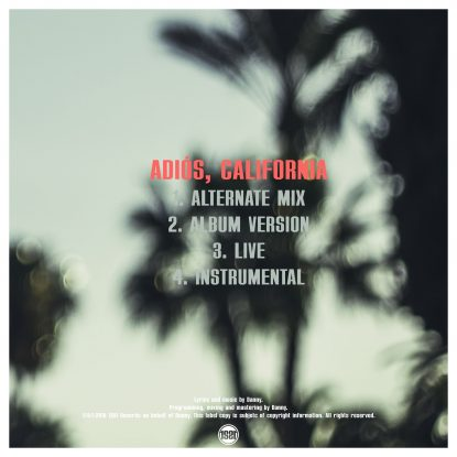 "Back cover for Danny's single ""Adiós, California"""